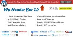 Buy Wp Header Bar - WordPress Notification Bar by pixelacehq on CodeCanyon. Wp Header Bar is a simple yet attention-grabbing, customizable responsive bar resting at the top of your WordPress t. Html Form Code, Bar Displays, Social Link, Social Icons, Email Templates, Wordpress Plugins, Ecommerce, Stock Market, Header
