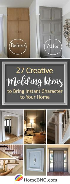 Molding Decoration Ideas – Before and Afters Remodel Ideas Home Upgrades, Home Improvement Projects, Home Projects, Home Renovation, Home Remodeling, Home Decoracion, Moldings And Trim, Crown Moldings, Easy Home Decor