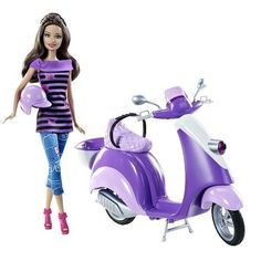 Teresa Doll With Purple Scooter and Helmet - Barbies Friend Teresa Glam Scooter Vespa. Teresa zips around town on her sporty and stylish Vespa scooter in the perfect shade of purple. Doll is posable and wears fashionable city sportswear and accessories. Porcelain Dolls Value, Porcelain Dolls For Sale, Barbie Y Ken, Barbie Dream, Barbie 2000, Barbie Shoes, Barbie Stuff, Toys R Us, Vespa Scooter