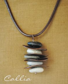 Stacked Beach Stone Necklace Copper Discs Brown by calliadesign, $36.00