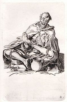 Jacques Callot - Beggar Sitting with Legs Crossed  - Etching