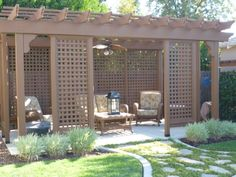 pergola with seating and bbq area Patio Design, Garden Design, Bbq Area, Sitting Area, Layout Design, Home And Garden, Real Estate, Outdoor Structures, Exterior