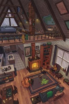 Aesthetic Rooms, Aesthetic Art, Casas The Sims 4, Japon Illustration, Cozy Cabin, Cabin Loft, Cozy Nook, Anime Scenery, Minecraft Houses