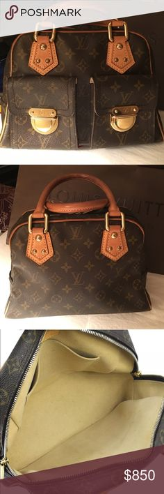 """% Auth Louie Vuitton Manhattan PM % Authentic """"RETIRED"""" Louie Vuitton Manhattan PM in great condition. Hardware is in great condition, inside is extremely clean & has nice patina on the leather parts. It's preloved & has normal wear & tear. It's a very well made bag. Out of all the LV's i've purchased this one is the best made. Overall bag is in great condition. Does not come with dust bag. Date code VI0093. Please ask for additional pics before purchase. ❌TRADES/LOWBALLING❌ If you have any…"""