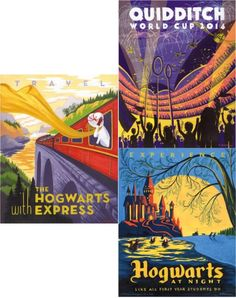 Funny Harry Potter rip-offs of vintage travel posters.
