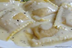 Butter Garlic Cream Sauce. I seasoned with thyme and oregano and it was perfect on our mushroom ravioli! #futurerepeat