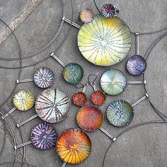 My signature enamel work- a starburst pattern done in sgraffito enamels, set in a modified prong setting. The bowls are hand formed, enamel is kiln fired. Enamel Jewelry, Metal Jewelry, Jewelry Art, Jewelry Design, Jewlery, Jewellery Box, Sgraffito, Artisan Jewelry, Handmade Jewelry
