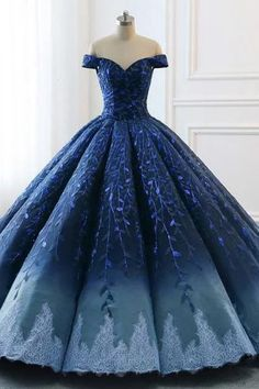Buy Ball Gown Navy Blue Lace Applique Ombre Off the Shoulder Princess Prom Dresses,Quinceanera Dresse in uk.Rock one of the season's hottest looks in a burgundy homecoming dress or choose a timeless classic little black dress. Pretty Quinceanera Dresses, Pretty Prom Dresses, Elegant Dresses, Beautiful Dresses, Cute Dresses, Formal Dresses, Formal Prom, Casual Dresses, Wedding Dresses