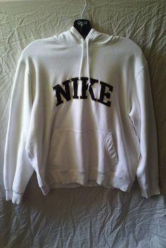 NIKE Size XL White Pullover Hoodie Hooded Running Fitness Sweatshirt #Nike #NikeHoodieSweatShirt #HoodedSweatShirtSizeXL