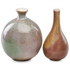 "JOSEP LLORENS ARTIGAS (1892 - 1980) Two glazed stoneware vases, Gallifa, Spain, 1967 / undated. Both signed, larger dated 9"" x 6 1/2"", 9"" x 4"""