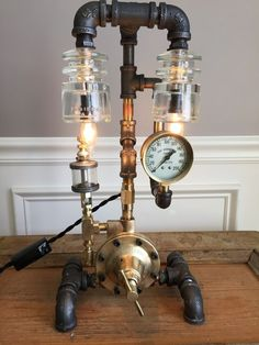 Steampunk Lamp: Vintage Oiler, Brass Pressure Gauge and Regulator, Industrial