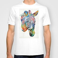 Colorful Zebra Face by Sharon Cummings T-shirt by Sharon Cummings - $22.00