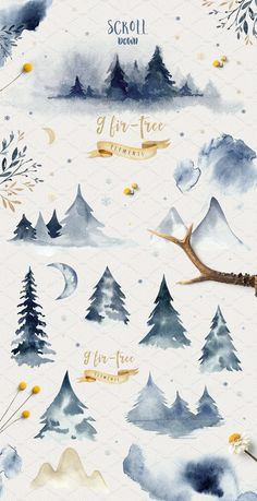 Indigo watercolor collection – Objects – 5 – The Best Ideas Illustration Inspiration, Inspiration Art, Watercolor Trees, Watercolor Paintings, Painting Art, Watercolor Christmas Tree, Simple Watercolor, Watercolor Artists, Painting Lessons