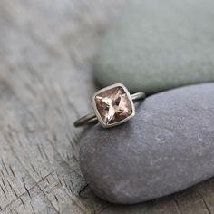 Morganite Ring in 14k White Gold Ring, Brushed Finish Palladium White Gold, Cushion Ring READY TO SHIP Size 7. $898.00, via Etsy.