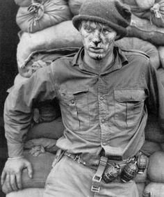 Canadian soldier after a raid in Korea. I actually met this fellow in a Kingston barber shop in 1988 or thereaouts.