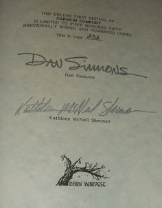 Signed Limited First Edition of Carrion Comfort by Dan Simmons Fine Copy