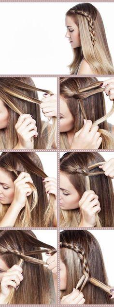 #trenzas de lado con #cabello suelto #hairstylesrecogido