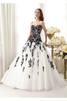 Tulle Ball Gown Sweetheart Black And White Wedding Dresses 2014 new arrival WD140116