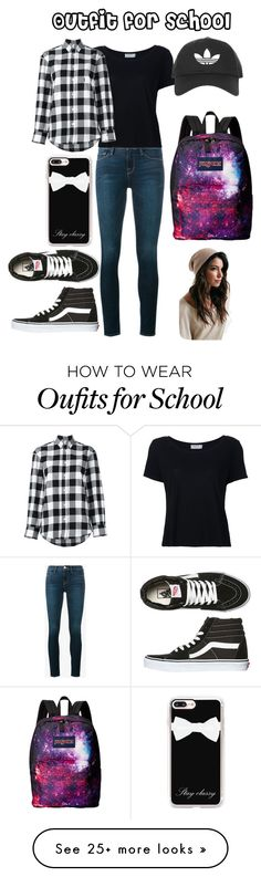"""""""Outfit for School"""" by ava-josephine on Polyvore featuring Frame, Golden Goose, Vans, Casetify, Topshop, JanSport and plaid"""