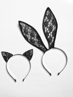 Lace Bunny Ears Headband in Black Lace by LoveAtFirstBlush on Etsy