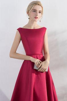 30a02213a A-Line Princess Satin Ankle-Length Best Wedding Guest Dresses Sale