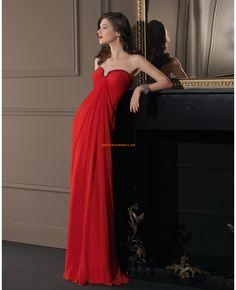 Robe de cocktail 2014 longue mousseline rouge