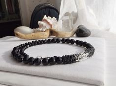 Black and Silver Beaded Adjustable Necklace with by Sparklesalot2
