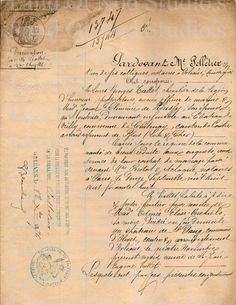 1876 Hand Written French Document digital download for altered art