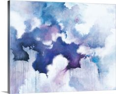 """Abstract contemporary painting in blue and purple tones, resembling a cloudy sky - """"Acquiesce"""" wall art by Circle Art Group from Great BIG Canvas"""
