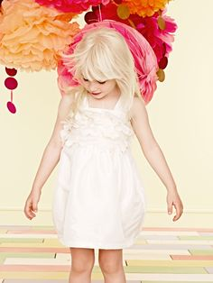 Little girl outfit: white dress with cutout flowers