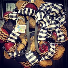 Burlap wreath // Monogram // Garnet // Black by KilbiBranchDesigns, $90.00