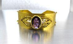 Antique Amethyst Bangle Bracelet Whirling by TonettesTreasures