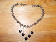 Cloudy quartz and black agate heart  necklace £9.00