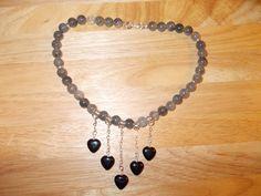 Cloudy quartz and black agate heart  necklace £9.00
