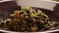 Quinoa & black bean dish. Used black beans from scratch (not canned) as well as corn off the cob (not frozen). Also added fresh tomatoes. Turned out nicely!