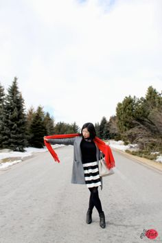 grey #coat x black and white @Anthropologie #skirt x red #scarf