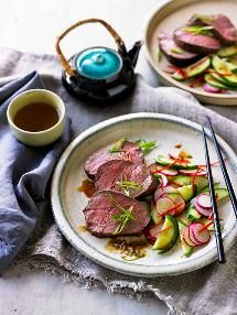 Japanese flavours coupled with a subtle smokiness make this beef fillet sing.