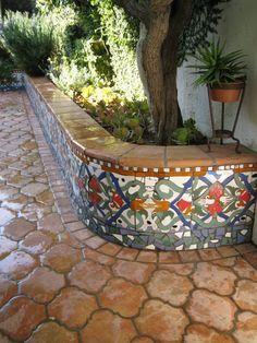 New Outdoor Patio Flooring Ideas Spanish Style Ideas Tile Patio Table, Patio Tiles, Patio Wall, Patio Flooring, Flooring Ideas, Concrete Patios, Cement Patio, Outdoor Patio Designs, Diy Patio