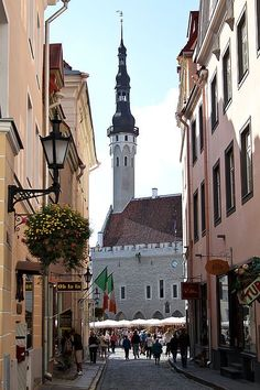 Calle de Tallin, con su Ayuntamiento al fondo. Estonia.