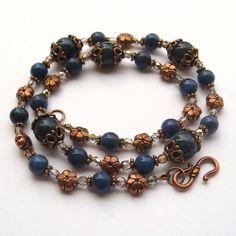 Dumortierite Gemstone Copper and Czech Glass Necklace | SolanaKaiDesigns - Jewelry on ArtFire