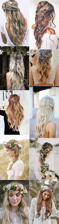boho chic half up half down wedding hairstyles #weddinghairstyle #weddinghair #bohowedding #weddingideas #weddinginspiration