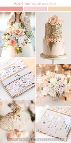 """Peach pink and blush, 2020 most trendy wedding colors inspiration for your big day! Search """" """" on our website for more details. Elegant Wedding Themes, Gold Wedding Colors, Gold Wedding Theme, Pink And Gold Wedding, Summer Wedding Colors, Blush Pink Weddings, Glitter Wedding, Rose Gold Glitter, Rose Wedding"""