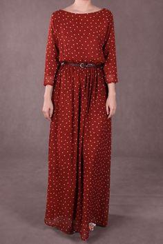 Penny Chiffon Maxi Dress - Red Polka