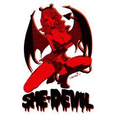Diable Rouge 赤い小悪魔 ピンナップガール | デザインTシャツ T-SHIRTS TRINITY #girl #illo #devil