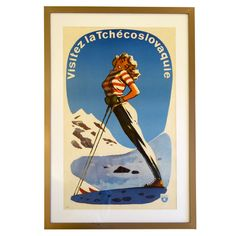 Vintage 1930's Deco Ski Poster French Skiing | From a unique collection of…