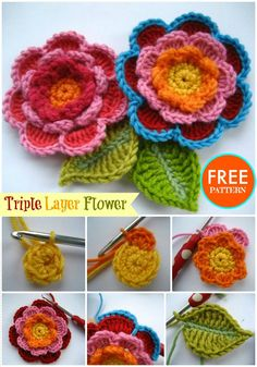 Triple Layer Flower Free Crochet Pattern -  Crochet Flowers - 90+ FREE Crochet Flower Patterns - Page 4 of 18 - DIY & Crafts