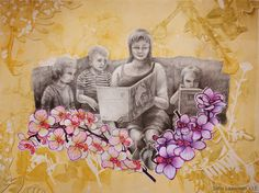 """Collage by Satu Laaninen 2015  """"Hetkellinen idylli""""   Kuva on kollaasi. Taustan muodostaa eristystekniikalla vedostettu grafiikanlehti osittain silputtuna. Ihmiset on piirretty lyijykynillä ja orkideat huopakynillä. Teoksen koko A3."""