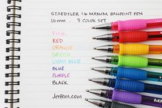 Staedtler 1.6 Maxum Ballpoint Pen - 1.6 mm - 8 Color Set http://www.jetpens.com/Staedtler-1.6-Maxum-Ballpoint-Pen-1.6-mm-8-Color-Set/pd/9617