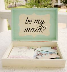 """Change to """"Be my bridesmaid?"""" It is a box of cute memories and photos. A deliberate way to ask a friend to be your bridesmaid. Cute!"""
