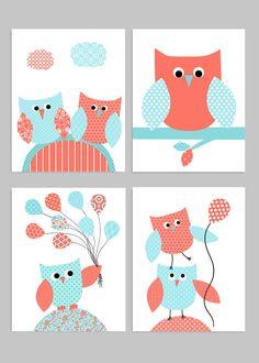 Owl Nursery Decor, Baby Girl Wall Art, Aqua and Coral, Owl Baby Room, Owl Wall Decor, Baby Room Decor, Baby Wall Art, Owl Nursery Prints by SweetPeaNurseryArt on Etsy